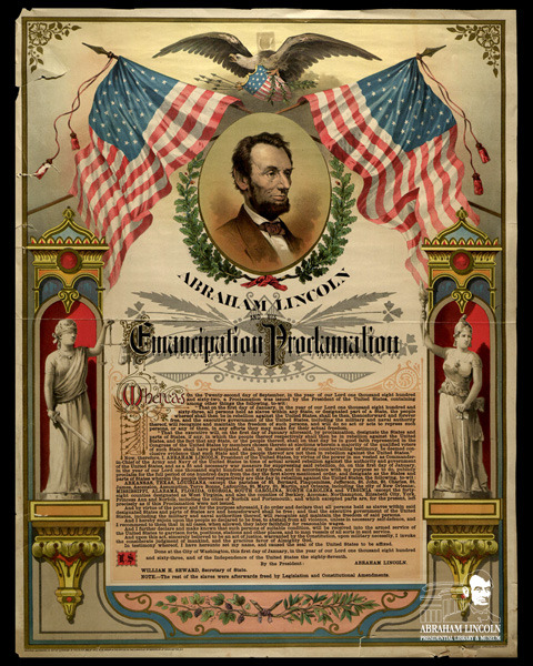 "Abraham Lincoln and his Emancipation Proclamation Copyrighted and designed by Mrs. M. M. Pabor in 1888 this commemorative lithograph of the Emancipation Proclamation was printed in Cincinnati, Ohio and features the allegorical ladies, Justice and Liberty. Other symbols of peace and justice, the laurel leaves and grapes are featured on the print. Because not all slaves were freed immediately with the issuance of the Proclamation in 1863, Mrs. Pabor added a note to this copy: ""The rest of the slaves were freed by legislation, and Constitutional amendments."" This statement refers to the Thirteenth, Fourteenth, and Fifteenth Amendments to the U.S. Constitution. This lithograph is currently on display as part of our most recent version of our ""Boys in Blue"" exhibit currently on display at the Abraham Lincoln Presidential Library until March, 2014.  ©2013 Abraham Lincoln Presidential Library and Museum"