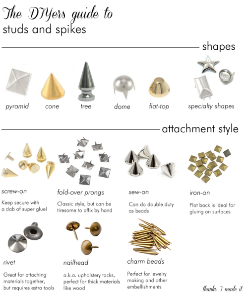 DIY Guide to Studs and Spikes from Thanks, I Made It here (with places to buy). Erin also has great tips on buying craft supplies online with links here. Her site is an absolute favorite of mine for everything jewelry. For other unique DIY supplies I've posted go here: http://truebluemeandyou.tumblr.com/tagged/supplies
