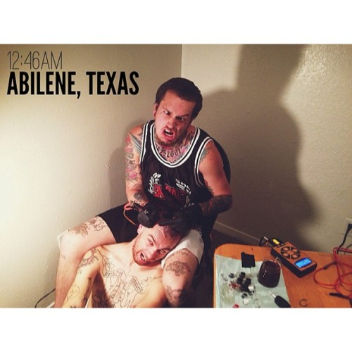 12:46AM - Abilene, Texas | We have an off day on tour in Texas so Nick is making the most of his downtime and making sure to relax by having his skull tattooed by Mr. Trevor Kope. (at The Hard & Relentless Tour)