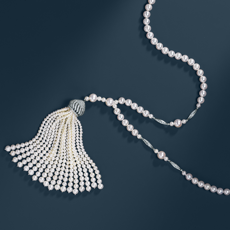 Tiffany interprets Jazz Age fashion with an elegant sweep of pearls accented by diamonds. From The Great Gatsby Collection, inspired by Baz Luhrmann's film in collaboration with Catherine Martin.