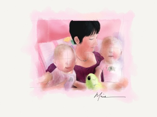 mademistakes:  For her first Mother's Day as a new mom, a drawing of my wife and twin girls. Babies without faces kind of look extra creepy huh?  Made With Paper