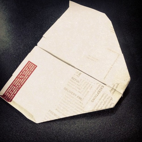 Probably the best paper airplane I have ever seen.  #paper #airplane