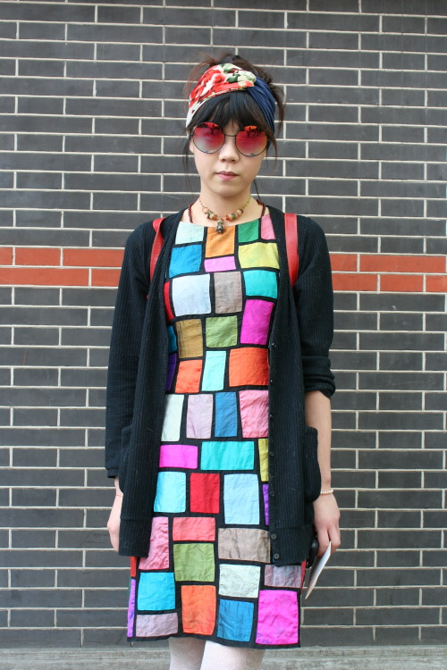 This year it's all about colour at Shanghai Fashion Week. WGSN street shot, Shanghai