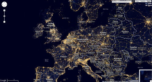 Amazing Google Maps mashup displaying global light pollution.