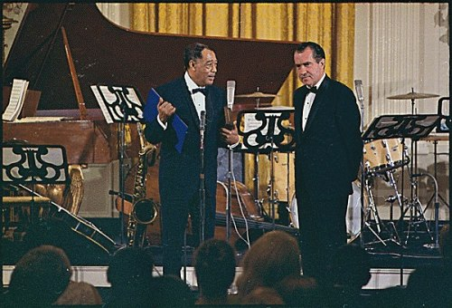 This week marks the birthday of Duke Ellington.  The American composer, pianist, and big band maverick was born on April 29, 1899 in Washington, D.C.   This photograph was taken on his seventieth birthday in 1969, when Ellington received the Presidential Medal of Freedom from President Nixon in the East Room of the White House.  -from the Nixon Library