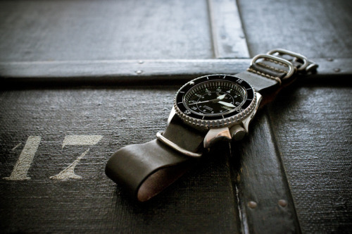 Seiko SKX007 Automatic Flieger Mod on a Horween Shell Cordovan Nato Strap. Thanks for the submission DERWAL
