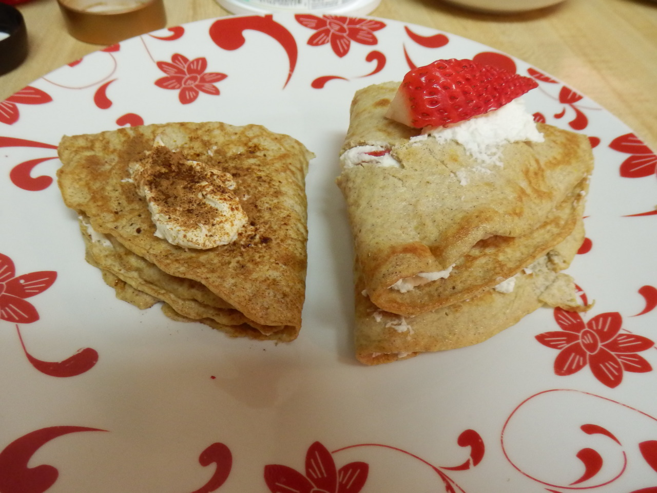 MADE SOME CREPES. LOOK AT THOSE BEAUTIFUL CREATURES. TIRAMISU AND STRAWBERRIES & FRESH WHIPPED CREAM CREPES. I'M A FLUFFIN' CHEF.