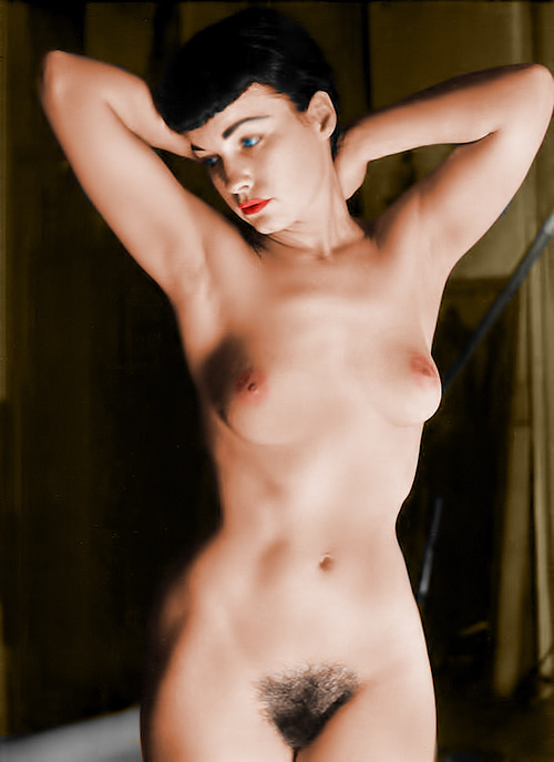 Bettie Page Nude (colorized). Original here.