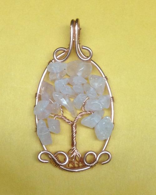 Tree Of Life tree of life pendant Rose quartz pendant Rose quartz Valentines day present Valentines day