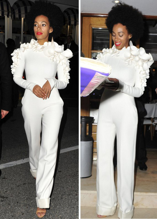 suicideblonde:  Solange Knowles in Stéphane Rolland at the Cannes Film Festival, May 19th