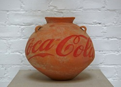 art-blag:  Ai WeiweiNeolithic Vase with Coca-Cola LogoPaint on Neolithic Vase (5000-3000 BC)9 3/4 x 9 3/4 x 9 3/4 inches2010