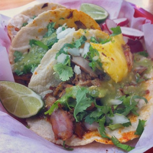 grabbin' lunch.. #tacos #pastor (at El Mercado Super)