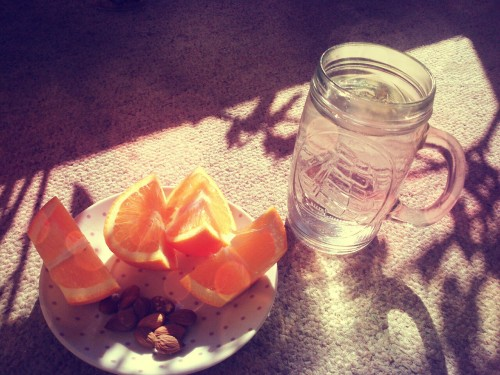 Snack: tangarines and almonds; water