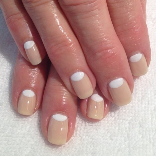 heynicenails:  #Gelish Need A Tan with white #halfmoon #nailart #lbc #workapproved