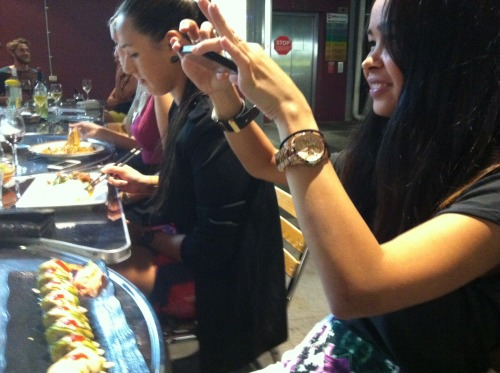 Laurie capturing her 'Mexican' sushi roll at Chingu in Brisbane, Australia.
