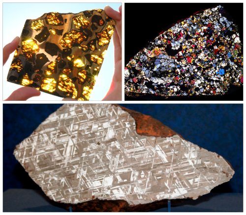 Meteorites! 1) Pallasite Meteorite Pallasites are a type of iron meteorite, incredibly rare, made out of large olivine crystals in an iron-nickel matrix – and they look just fabulous. Olivine is a a magnesium iron silicate quite common in our planet's subsurface, but which weathers fast when exposed to the surface. Only 64 have been found. [more] 2) Chondrite Meteorite Chondrites are stony (non-metallic) meteorites that have not experienced any melting. They are formed when various types of dust and small grains accumulate to form primitive asteroids. These are the most common type of meteorite falling to Earth. One of their characteristics is the presence of chondrules, which are round grains formed by distinct minerals. The chondrule contents may have gone on forming and broken through the chondrite droplet boundaries, so the chondrules become less and less distinct, grading into a fine-grained holocrystalline rock. This is a holocrystalline chondrite with chondrules no longer distinguishable. [more] 3) Widmanstätten pattern Meteorite The Widmanstätten pattern is commonly found in iron meteorites. The distinctive internal structure is formed as the liquid metal at the core of a newly formed meteorite (comprising mostly nickel and iron) cools very slowly over thousands of years.The result is a lattice of nickel-iron crystals unlike anything seen here on Earth. [more]  Let me repeat: these are all flying space rocks that attacked Earth.