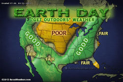 Where the weather is best for outdoor Earth Day activities