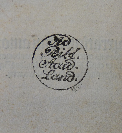 "Stamp of the Universitätsbibliothek München by Penn Provenance Project on Flickr.Via Flickr: Stamp (""Ad Bibl. Acad. Land."") used by the Universitätsbibliothek München between 1800 and 1826 Penn Libraries call number: Inc T-448All images from this book"