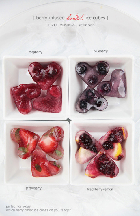 confectionerybliss:  Just add your berries into a heart shaped mold, add the water and freeze.