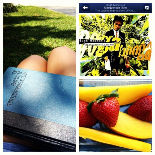 makings of a PERFECT Sunday afternoon 👓🌴📖🍓 🎷🎶 #jazz #sundayafternoon #fscottfitzgerald #thegreatgatsby #greatbook #reading #outside #breeze #southflorida #fruit #strawberries #mango #tropical #hughmasekela #missingyou