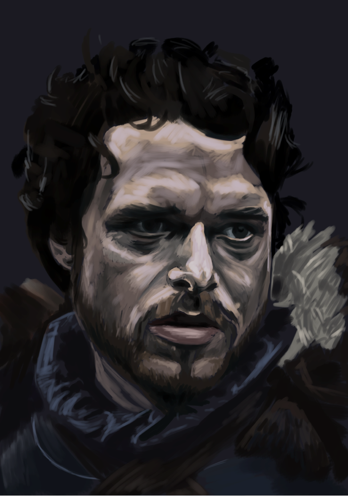 Robb Stark, King in the North, as played by Richard Madden in HBO's Game of Thrones. this was a lot of fun to paint, mostly stopped due to illness.