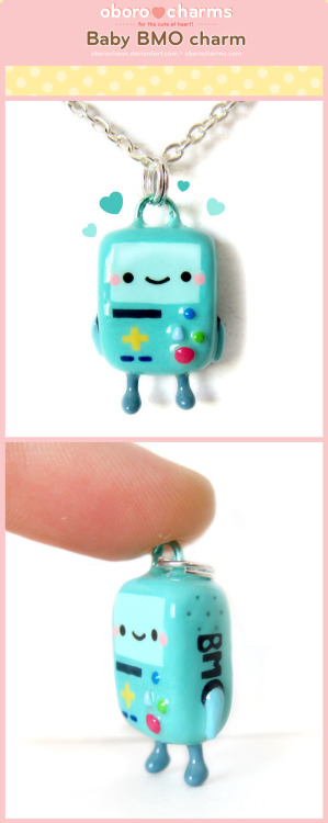 I have been wanting to make a BMO charm for so long and I finally did! I'm really happy with how his little feet turned out. Adventure Time characters are so fun to make into charms and it's nice to make something I can keep for myself ^___^I do not sell any fanart so this will not be put in the shop but I have lots of other cute items there: http://www.oborocharms.com/collections/accessories