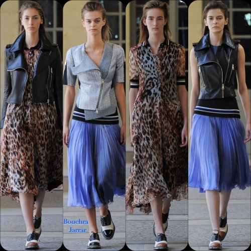 """Bouchra JarrarCouture FW '14Stylist Picks: It's not often you can truly view a couture collection and say (to yourself), """"Hey, I can totally wear my leather motor vest over my feminine animal print dress too!"""" but I think that this is a do-able DIY collection of looks. No it won't have the devine fit of Bouchra Jarrar but you can easily cop the styling."""
