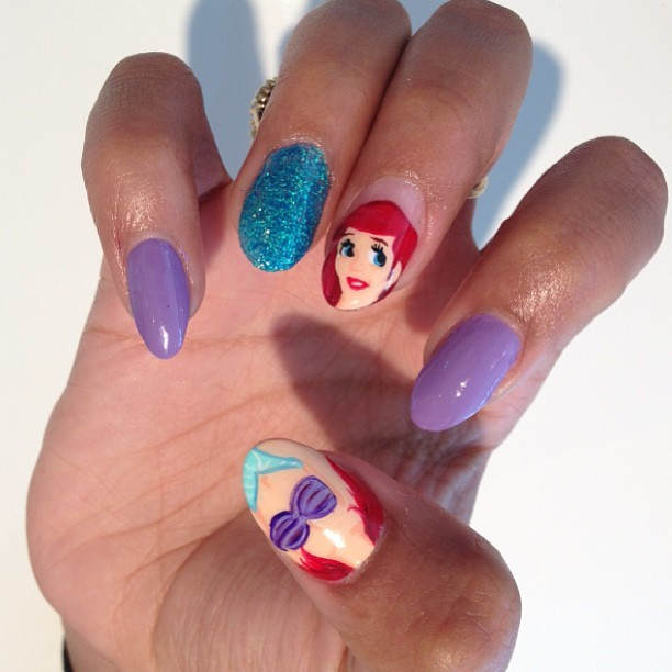Disneys Little Mermaid nails done today @candypaintla inside the M.E. store #melodyehsani #candypaint #nailart