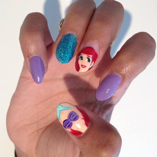 melodysblog:  Disneys Little Mermaid nails done today @candypaintla inside the M.E. store #melodyehsani #candypaint #nailart  Wow! I obviously love this. Garish but wonderful!