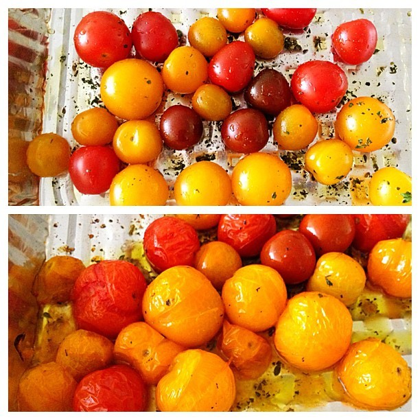 Roasting tomatoes, before and after