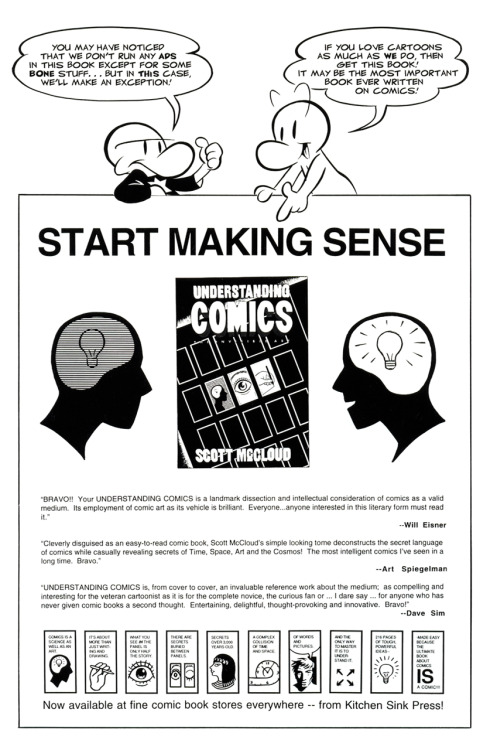 Ad for Understanding Comics by Scott McCloud presented by characters from Jeff Smith's Bone, 1993.