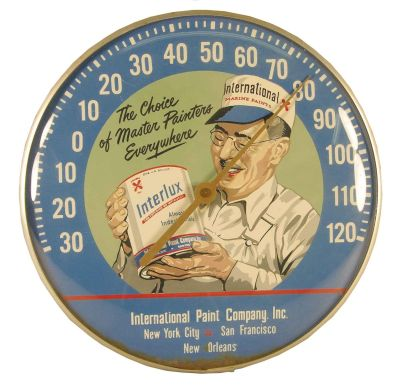 International Paint Company Advertising Thermometer  International Paint, an Akzo Nobel subsidiary, are makers of marine and protective coatings, and are headquartered in Gateshead, UK. In 1881, Charles Petrie, along with German brothers Max and Albert Holzapfel, founded the Holzapfel Compositions Company Ltd. in Newcastle upon Tyne, UK, producing marine coatings for the local shipping industry. In 1904 the company moved to a larger factory in Felling-on-Tyne, where the 21st century headquarters are still located. By 1889, the company had expanded production to include overseas countries, such as Russia, Denmark, Italy and Germany, and in 1901 to the United States, where it was registered under the name International Paint Co Inc, in. New Jersey, with production in Brooklyn, New York. International Paint is now the leading brand name of the AkzoNobel Marine & Protective Coatings (M&PC) business unit. The company has approximately 5,500 employees, in more than 50 countries. +