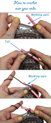 podkins:  Here's a handy little crochet tutorial for beginners wanting to learn how to crochet over their ends.  Via the LionBrand Yarn Blog.