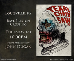 "Louisville, KY - Get ready for the return of Leatherface…  On Thursday Jan 3rd at 10 PM, hit up Rave Preston Crossing to catch a Tumblr Screening of #Texas Chainsaw 3D featuring a special appearance by John Dugan.  You'll walk away with custom Texas Chainsaw 3D-glasses from RealD and an exclusive limited edition Vice ""Gallery of Horrors"" poster. Click the picture to buy tickets now!"