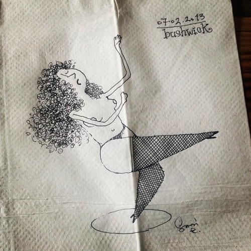 pole dance #illustration #sketch #art #lineart #doodle #nyonmynapkin #newyork #brooklyn #napkin   #dance #poledance #dancer  #creative #cartoon  (at your way cafe)