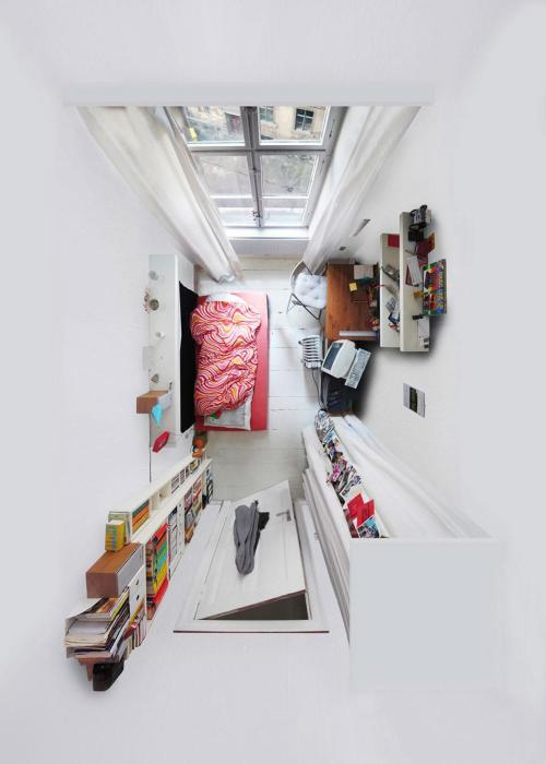 "Room Portraits by Menno Aden Through challenging camera angles Menno is able to flattern cluttered spaces into two dimensions. By fixing a camera to the ceiling of a room the chaotic spaces that we live in seem organised and neat when the reality is often drastically differant. ""For me as an artist, watching from a higher position on a small space is interesting because I can see someone's compressed personality""      Artists: 