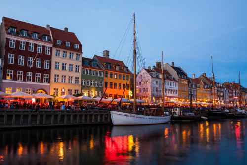 Colorful Nyhavn at night - Copenhagen, Denmark