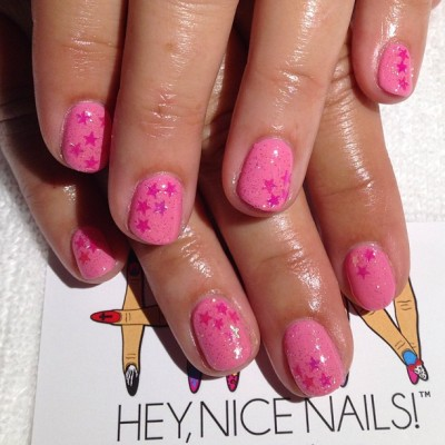 heynicenails:  Gel mani using #presto #78 and #73 and pink iridescent #marthastewart stars #longbeach #nailart #naillabo  (at Hey Nice Nails)