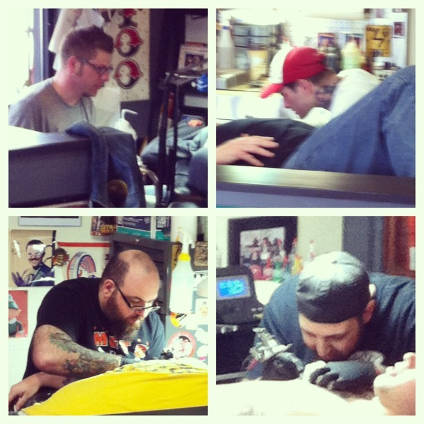 The team here at @pnytattoo is killin it today, stop in and set up your appointment with the best there is #tattoo #tattooing #tattoos @greg_pny #Jerry #Sag #JohnnyC