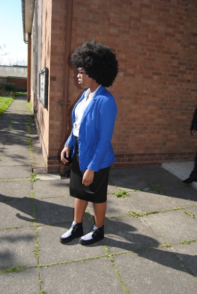 blackfashion:  Sunglasses/bag/shirt: H&M, blazer: Bershka, skirt/shoes: EbayNaomi, 17, Birmingham UK http://afroque.tumblr.com