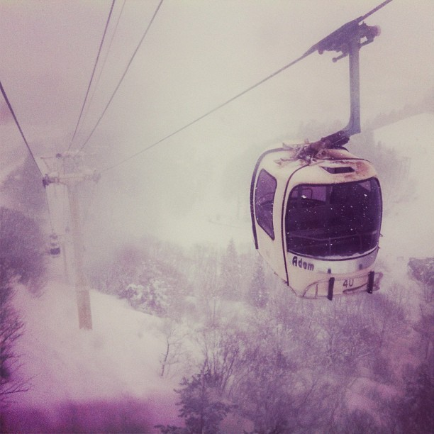 The fantastically cool retro-futuristic gondola of Happo-one ski resort. (at 白馬八方尾根スキー場 (Happo-one ski resort))