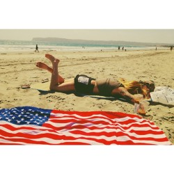 Pretty perfect way to spend the afternoon.  An American flag towel, an ocean, a mountain, and a @rachelk__.