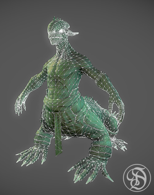 First Pass normal and AO Maps on Lizard Centaur dude. still got some small fixes in the normal/AO that im going to have to go in and paint out. but over all im pretty happy with how it turned out. rendered in Marmoset