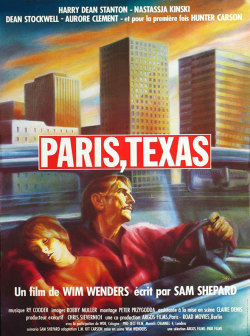 movieposteroftheday:  French affiche for PARIS, TEXAS (Wim Wenders, West Germany/USA, 1984) Artist: Guy Peellaert (1934-2008) [see also] Poster source: MoviePosterDB PARIS, TEXAS unanimously won the Palme d'Or in 1984 and swept all three juried awards, including the FIPRESCI and the Prize of the Ecumenical Jury.