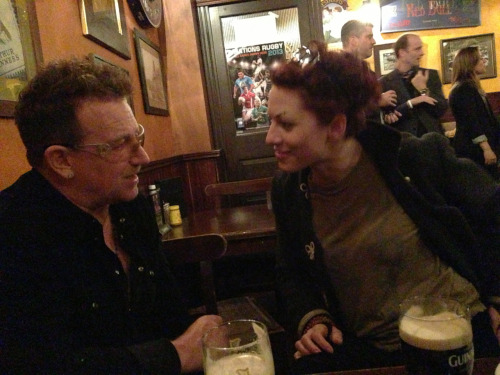 amandapalmer:  me & bono drinking guinness.     (photo by cancer specialist TEDster william li) #TED2013.  Amanda Palmer & Bono drinking Guinness
