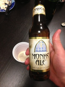 Abbey Beverage's Monk's Ale (From NM, Thanks to Nik for bringing from El Paso!) A 2 of 4. For a belgian pale, this has a relatively deep malt character to it - some roasted and dark fruit notes as present, but not powerful. Drinks relatively easily with your typical yeasty spice notes, and a pretty generic dry finish. Solid, and always cool to find a new US Abbey that I hadn't heard of.