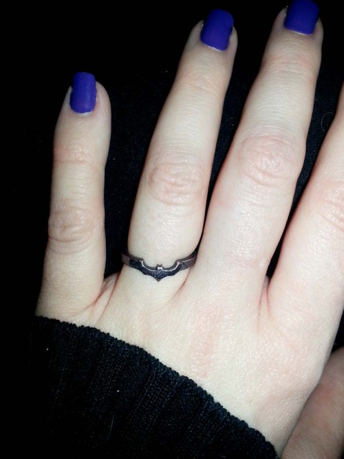 So, it's official. I'm married to Batman. Thanks, Guild Jewelry!! (@GuildJewelry on Twitter)
