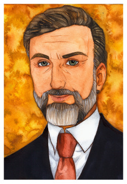 Attempt on slightly stylized pic of Christoph Waltz (he's so azm!) mainly done with left hand. Got myself brown ink yey.