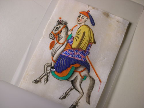 "Antique Chinese Miniature Pith Painting. Just wonderful work. Color is vibrant. Circa: 19th century, China. Approx. Size: 4-1/2"" x 3"" inches"