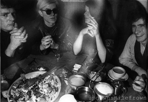 updownsmilefrown:  Paul Morrissey, Andy Warhol, Janis Joplin, and Tim Buckley at Max's Kansas City, New York, 1968 by Elliott Landy